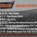 Graphic showing the available testing dates for Copeland Motorsports